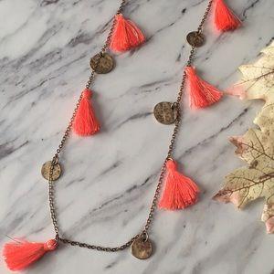 🍁 Neon Orange and Gold Tassel Necklace